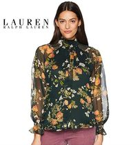 LAUREN RALPH LAUREN Flower Patterns Puffed Sleeves Medium Tunics