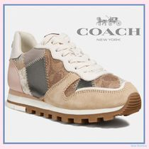 Coach Rubber Sole Casual Style Leather Office Style Heeled Sandals