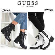 Guess Casual Style Street Style Plain Chunky Heels Mid Heel Boots