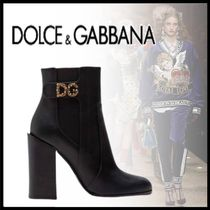 Dolce & Gabbana Casual Style Leather Block Heels Logo Ankle & Booties Boots
