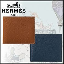 HERMES Calfskin Plain Folding Wallets