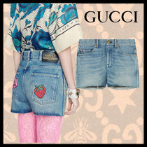 GUCCI Short Casual Style Denim Blended Fabrics