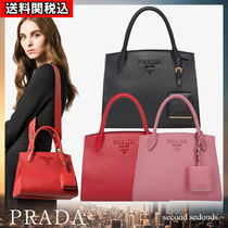 PRADA MONOCHROME  Calfskin Blended Fabrics 2WAY Plain Elegant Style Handbags