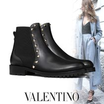 VALENTINO Studded Plain Leather Chelsea Boots Ankle & Booties Boots