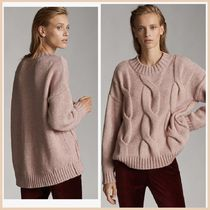Massimo Dutti Cable Knit Casual Style Long Sleeves Plain Medium High-Neck