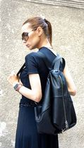 Aakasha Casual Style Unisex 2WAY Plain Leather Handmade Backpacks