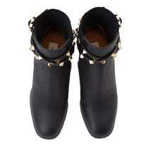 VALENTINO Studded Leather Logo Boots Boots