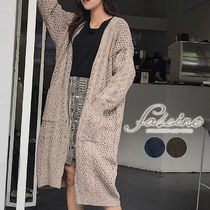 Cable Knit Casual Style Long Sleeves Plain Long Midi