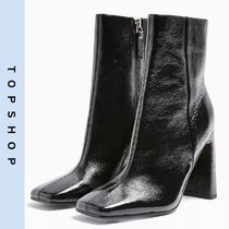 TOPSHOP Casual Style Leather Block Heels High Heel Boots