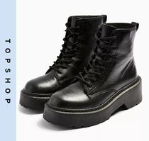TOPSHOP Casual Style Leather Block Heels Boots Boots