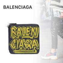 BALENCIAGA VILLE Unisex Leather Folding Wallets