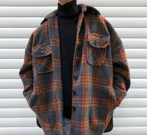 Short Other Plaid Patterns Wool Street Style Chester Coats