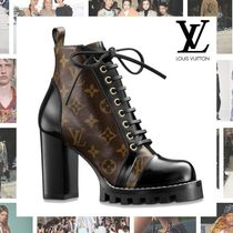 Louis Vuitton Monogram Rubber Sole Blended Fabrics Leather Block Heels