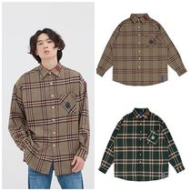 ROMANTIC CROWN Other Check Patterns Unisex Street Style Long Sleeves