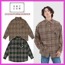 ROMANTIC CROWN Other Check Patterns Unisex Street Style Long Sleeves Shirts