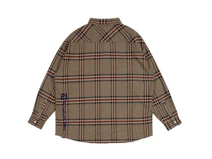 ROMANTIC CROWN Shirts & Blouses Other Check Patterns Casual Style Unisex Street Style 9