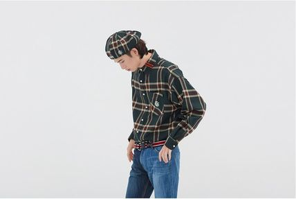 ROMANTIC CROWN Shirts & Blouses Other Check Patterns Casual Style Unisex Street Style 10