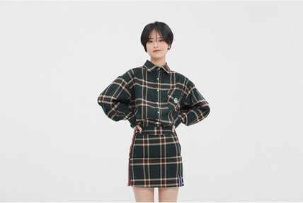 ROMANTIC CROWN Shirts & Blouses Other Check Patterns Casual Style Unisex Street Style 11