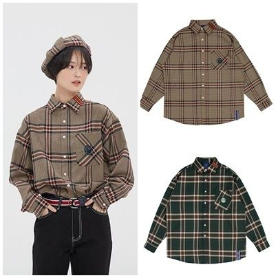 ROMANTIC CROWN Shirts & Blouses Other Check Patterns Casual Style Unisex Street Style