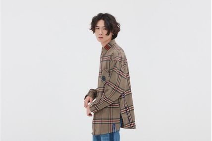 ROMANTIC CROWN Shirts & Blouses Other Check Patterns Casual Style Unisex Street Style 3