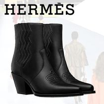 HERMES Casual Style Leather Ankle & Booties Boots