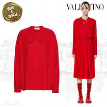 VALENTINO VLOGO Silk Long Sleeves Plain Elegant Style Shirts & Blouses