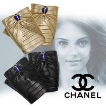 CHANEL ICON Blended Fabrics Street Style Bi-color Leather