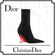 Christian Dior Plain Leather Wedge Boots