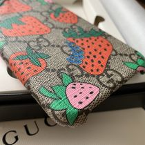 GUCCI GG Marmont Unisex Street Style Leather Smart Phone Cases