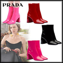 PRADA Plain Toe Enamel Plain Leather Block Heels Elegant Style