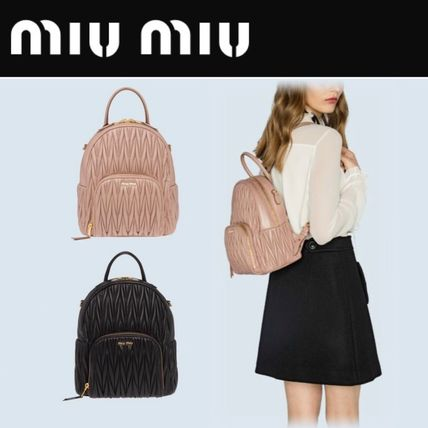 Casual Style Lambskin Plain Backpacks