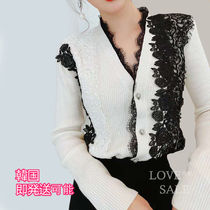 Casual Style Rib V-Neck Long Sleeves Medium Long Lace