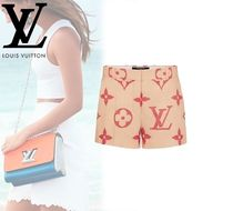 Louis Vuitton Short Monogram Plain Cotton Elegant Style