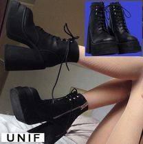 UNIF Clothing Platform Round Toe Lace-up Casual Style Street Style Plain