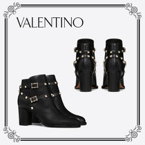 VALENTINO Plain Toe Studded Plain Chunky Heels Ankle & Booties Boots