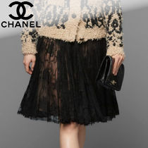 CHANEL Flower Patterns Pleated Skirts Medium Lace Midi Skirts
