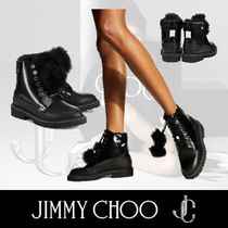 Jimmy Choo Mountain Boots Round Toe Rubber Sole Lace-up Plain Leather