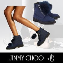 Jimmy Choo Mountain Boots Round Toe Rubber Sole Plain Leather