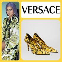 VERSACE Leather Pin Heels Elegant Style Pointed Toe Pumps & Mules