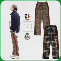 ROMANTIC CROWN Gingham Stripes Unisex Street Style Oversized Pants