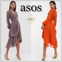 ASOS Flared V-Neck Long Sleeves Plain Medium Party Style