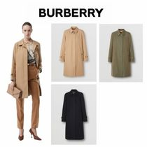 Burberry Stand Collar Coats Gingham Casual Style Nylon Plain Long