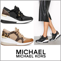 Michael Kors Monogram Leopard Patterns Platform Round Toe Lace-up