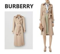 Burberry Stand Collar Coats Gingham Casual Style Plain Medium Long
