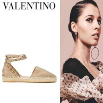 Mario Valentino Round Toe Casual Style Studded Plain Leather Sandals Sandal