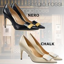 Sergio Rossi Open Toe Plain Leather Pin Heels Elegant Style