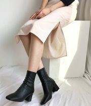 Square Toe Faux Fur Mid Heel Boots