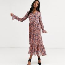 YAS Flower Patterns Casual Style Maxi V-Neck Long Sleeves Long