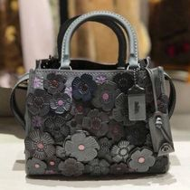 Coach ROGUE Flower Patterns Studded 2WAY Plain Leather Elegant Style
