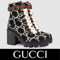 GUCCI Rubber Sole Lace-up Tweed Lace-up Boots